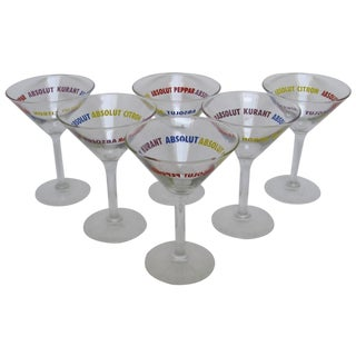 Absolut-Branded Martini Glasses - Set of 6