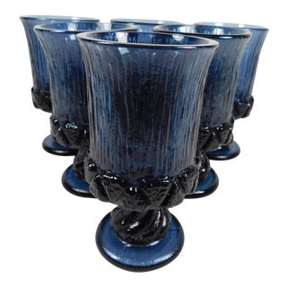 Blue Textured Glass Goblets - Set of 6