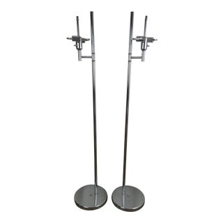 Van Teal Chrome Floor Lamps - A Pair