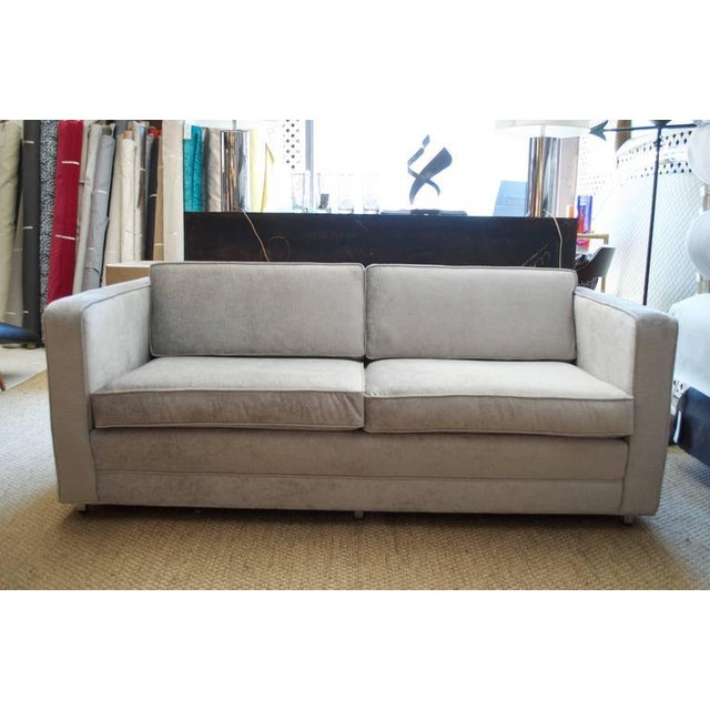 Knoll Love Seat in Distressed Silver Velvet - Image 2 of 5