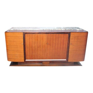 French Art Deco Light Macassar Ebony Sideboard With Marble Top