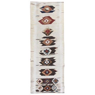 Vintage White Kilim Runner Hand-Knotted Wool Rug - 3'2 x 8'6