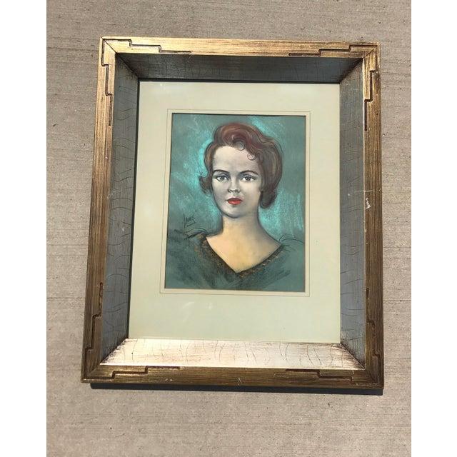 Vintage Chalk Pastels Female Portrait Drawing - Image 2 of 9