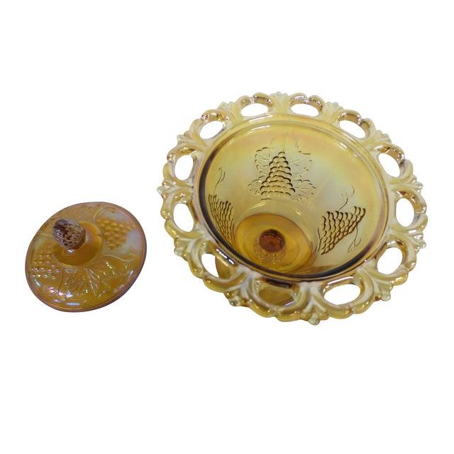 Ornate Marigold Glass Candy Dish - Image 3 of 5