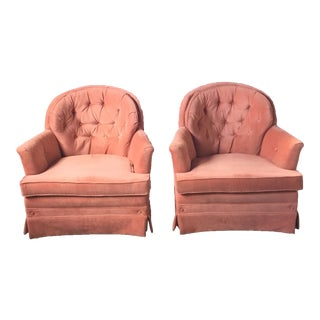 Vintage Pink Peach Tufted Lounge Chairs - A Pair