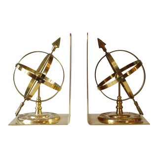 Vintage Brass Sundial Bookends - A Pair