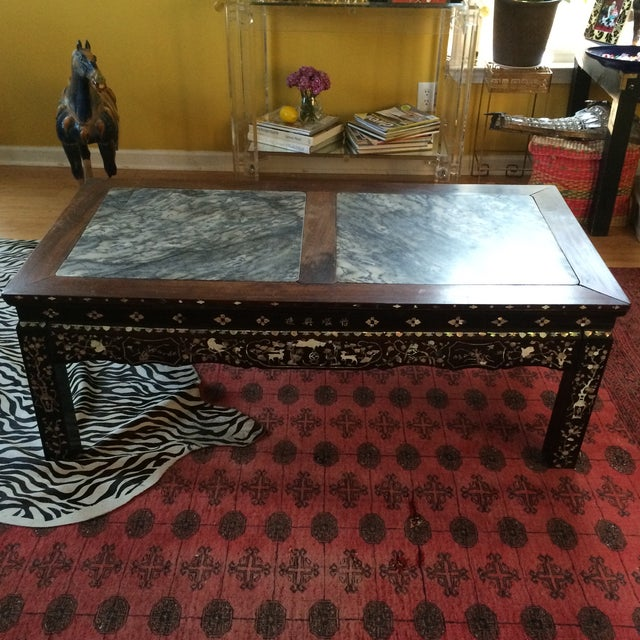 Chinoiserie Mother of Pearl Marble Table - Image 3 of 9