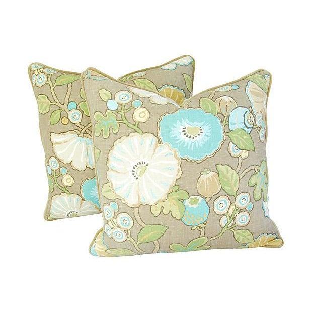 Designer Linen/Velvet Floral Pillows - A Pair - Image 5 of 7