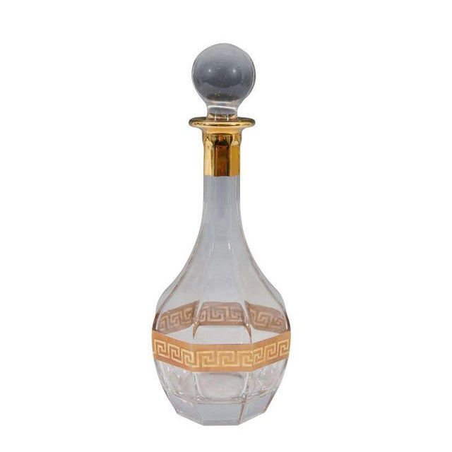 Italian Crystal Decanter, Gold Greek Key Design - Image 1 of 3
