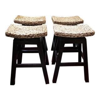 Woven Rush Seat Swivel Stools - Set of 4