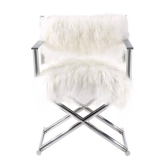 Mongolian Fur Polished Metal Director 39 S Chair Chairish
