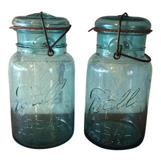Old Ball Blue Mason Jars - A Pair