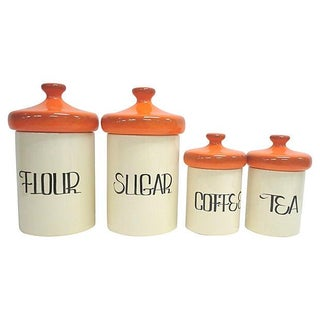 Mid-Century Orange Ceramic Canisters - Set of 4