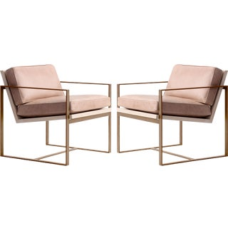 Redford House Blush Pink Leather With Gold Metal Frame Manhattan Lounge Chairs - a Pair