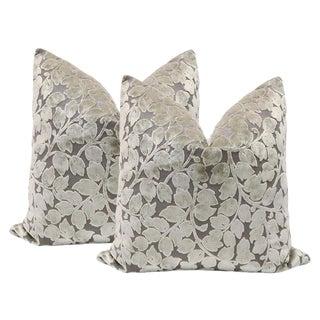 "22"" Leaf Cut Velvet Pillows in Taupe - A Pair"
