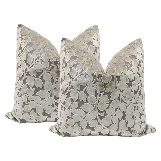 """22"""" Taupe Leaf Cut Velvet Pillows - a Pair - Image 1 of 3"""