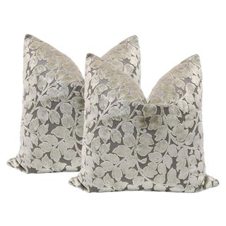 "22"" Leaf Cut Velvet Pillows in Taupe - A Pair"