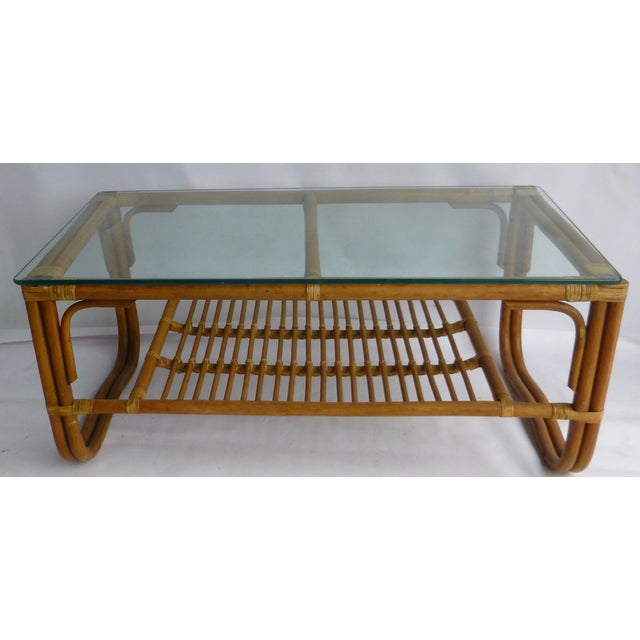 Image of Vintage Mid-Century Bamboo Coffee Table