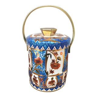 Blue & Orange English Lidded Tin