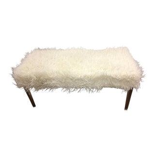 Faux Flokati Upholstered Acrylic Bench