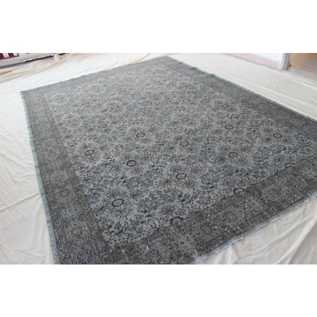 """Vintage Turkish Over-Dyed Gray Rug - 10' x 7'3"""" - Image 3 of 8"""