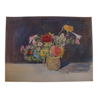 Vintage 1930s Floral Bouquet Watercolor Painting