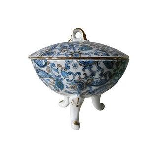 Lefton Blue Paisley Lidded Bowl