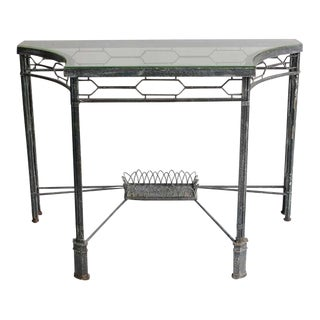 Modern Demilune/Console Metal Table, 2 available