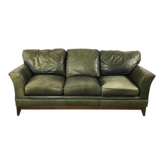 Stickley Green Leather Classic Sofa