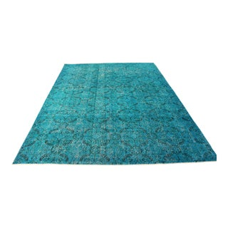 "Turquoise Turkish Overdyed Rug - 6'7"" X 9'3"""