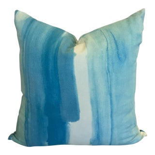 Accent Pillow in Watercolor Aqua by Miles Redd for Schumacher