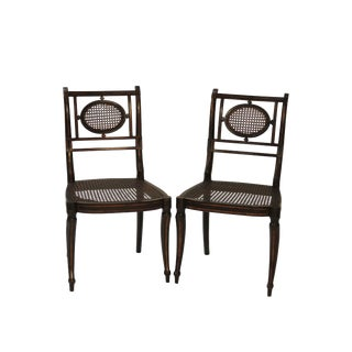 Chic English Regency Black and Gilt Chairs - A Pair