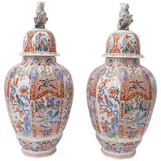 Pair of Large-Scale, Hand-Painted, Artisan, French Faience Lidded Vases