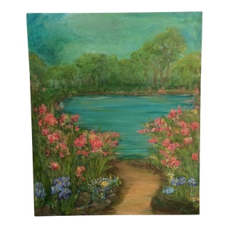 Signed Lake & Flowers Painting