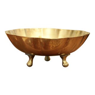Brass Scalloped & Footed Soap Dish or Small Bowl