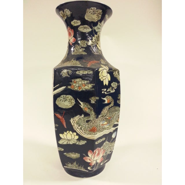 Blue Vases with Goose/ Lotus - A Pair - Image 4 of 6
