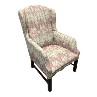 Mahogany Chippendale Flame Stitch Wing Chair