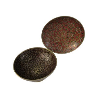 Indian Enamel & Brass Engraved Bowls - A Pair
