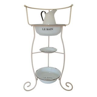 Vintage French Wash Stand & Towel Rack, Enamel Accessories