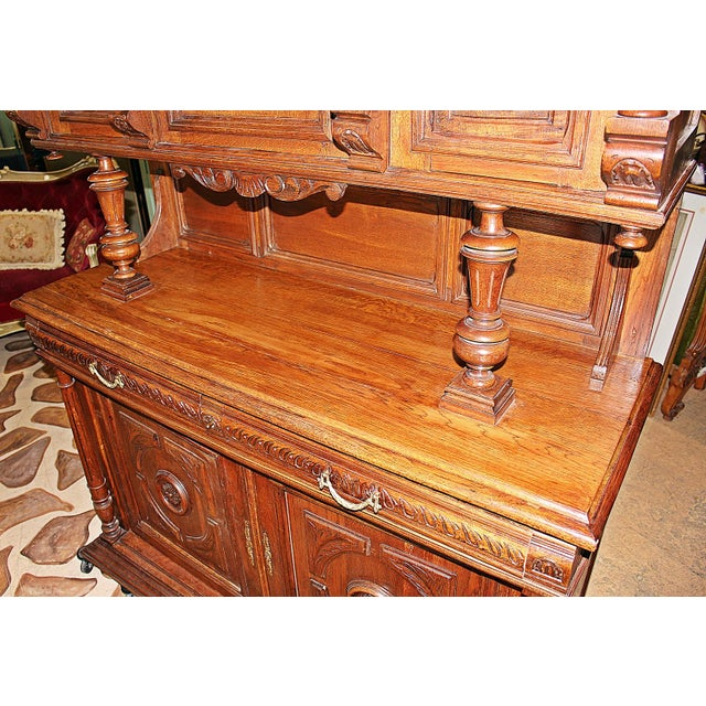 French Rococo Hand-Carved Hutch - Image 7 of 9