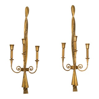 Tall Lumi Neoclassical Three Arm Gilded Metal Sconces