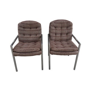 Mid-Century Chrome Upholstered Armchairs - A Pair