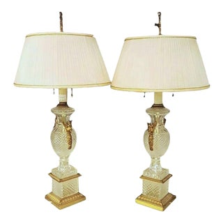 Glass Lamps with Swan Handles - A Pair