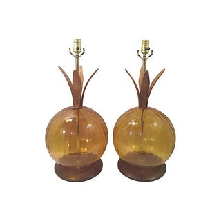 Gold Glass and Teak Sculptural Lamps - Pair