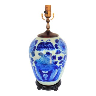 Blue & White Chinese Pottery Lamp