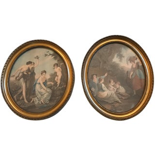 Vintage Neoclassical Framed Prints - a Pair
