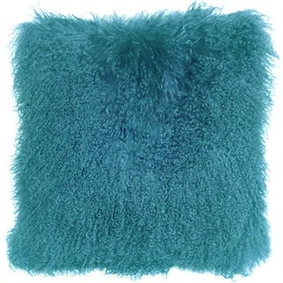 Turquoise Blue Mongolian Sheepskin Pillow