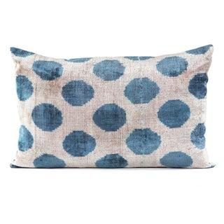 """Silk Velvet  Turquoise Ikat Pillow - 16"""" x 24"""""""