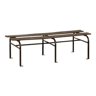 Modern Iron and Wood Garden Bench, France c. 1930