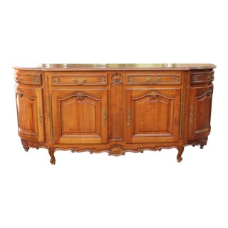 FRENCH ANTIQUE 19TH CENTURY PROVENCAL LOUIS XV SIDEBOARD / BUFFET DEMILUNE.